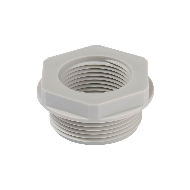 Reduktions adaptor M16/M12 plast grå