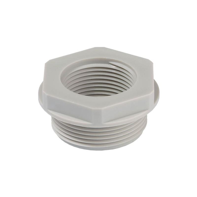 Reduktions adaptor M20/M16 plast grå