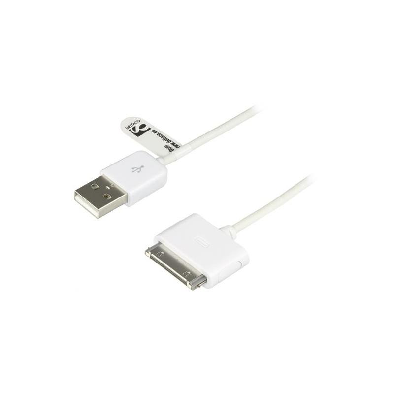 USB-kabel med dockstik for at oplade og synkronisere din iPod, iPhone eller iPad, 0,1m, hvid