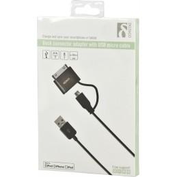 USB-kabel med adapter fra Type Micro-B hun til dock-stik han -