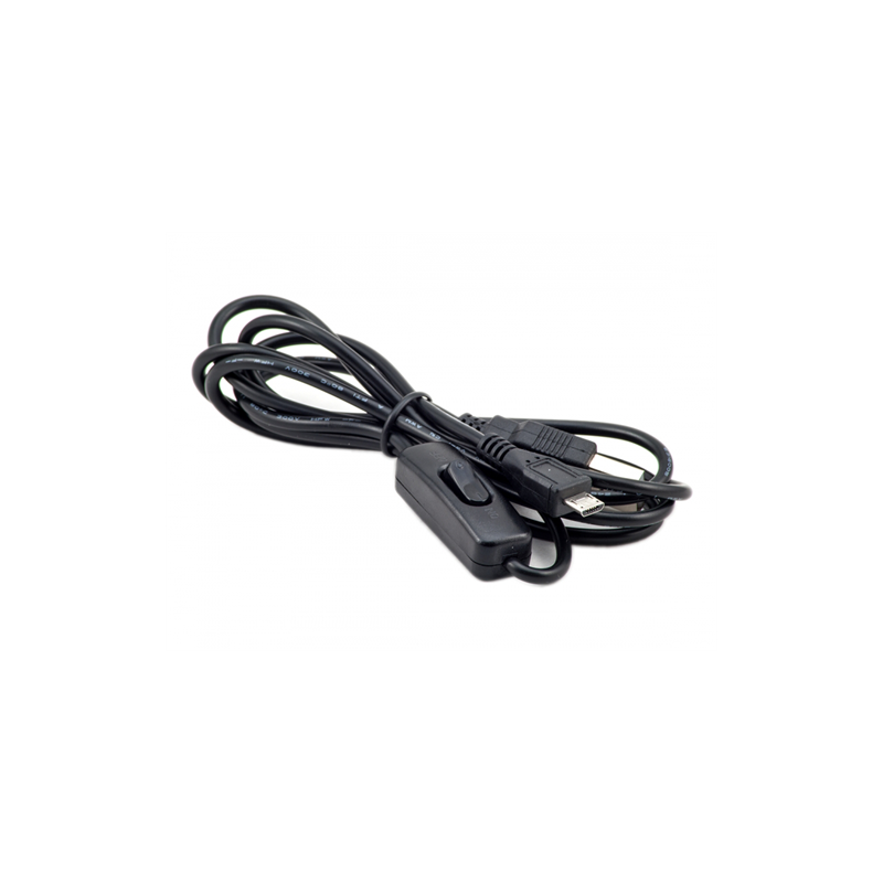 USB cable with on/off switch for Raspberry Pi, 1,5m, USB Type A M, Micro USB Type B M, black