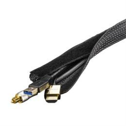 Kabelsorteringsstrømpe i nylon, lukkebånd, 1,8m, sort