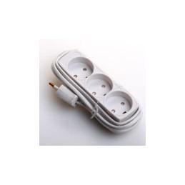 Stikdåse med 3 udtag 2,5 meter ledning hvid
