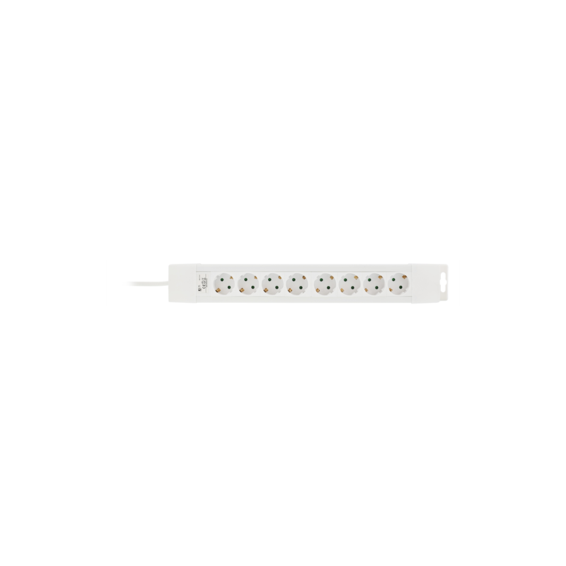 Schuko, 8-stikdåse med sidejord, HVID