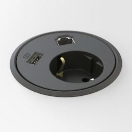 Deskline Circle - Strøm,USB,RJ45, kabelhuller