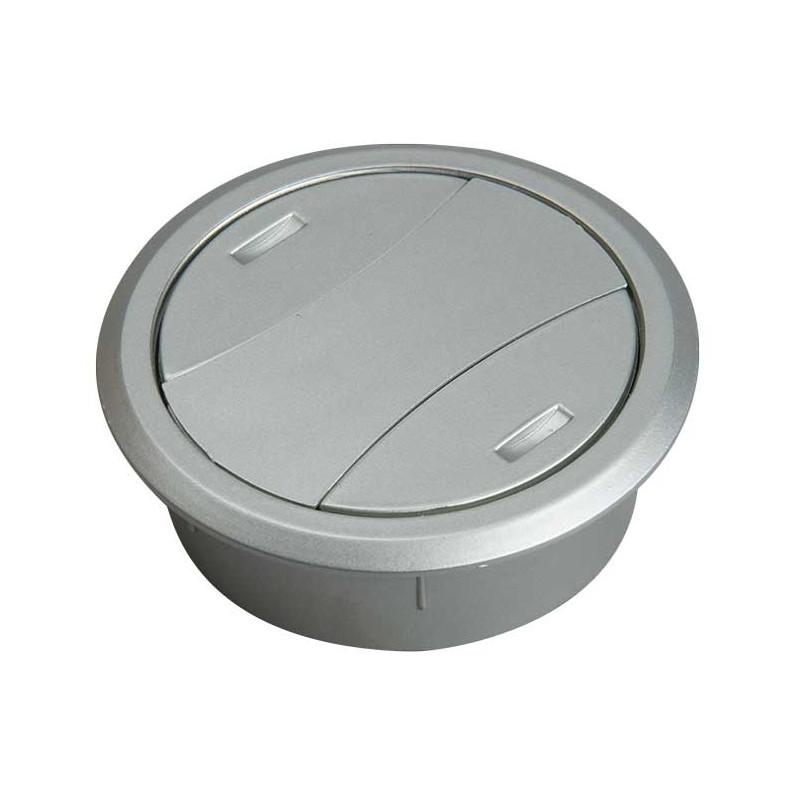 Bordgennemføring 60mm platic med aluminiums look