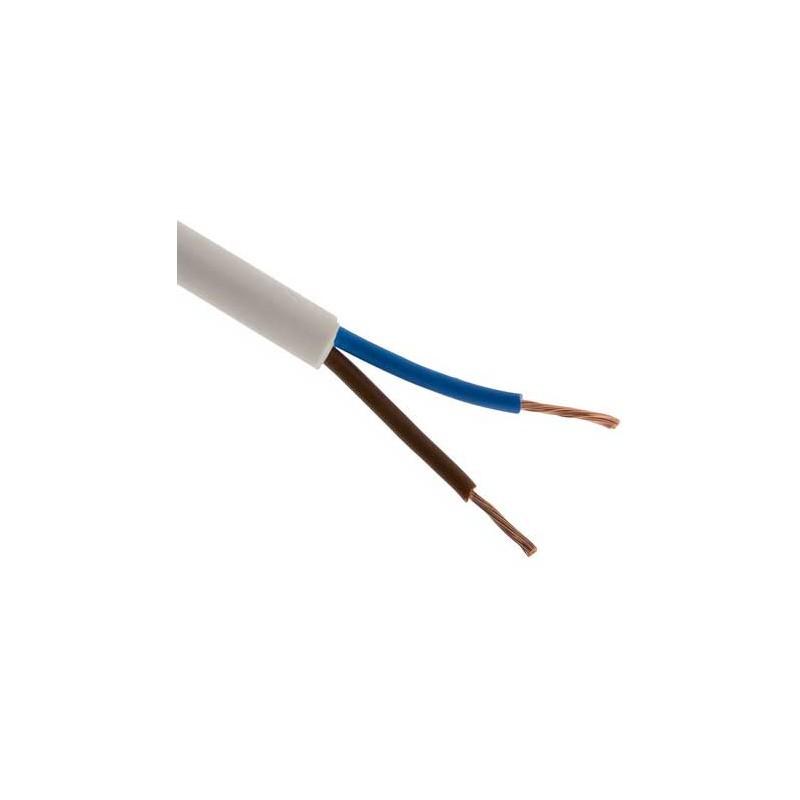 Hvid blød ledning, 2-leder - 0,75mm2, H05VV-F, Pr. meter