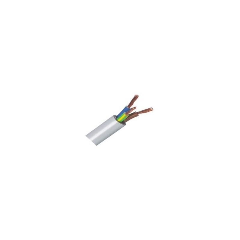 Hvid blød ledning, 3-leder-1,00mm2, H05VV-F, Pr. meter