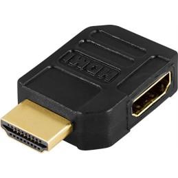 HDMI-adapter, 19-pin hun til han, vinklet, guldpletteret stik