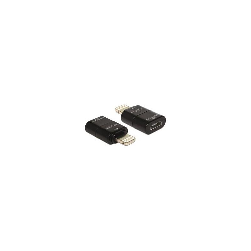 DeLOCK adapter, Lightning han til USB Micro-B hun, sort