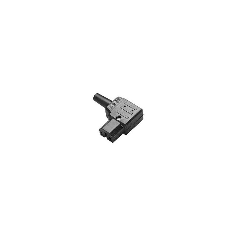 Apparatstik C13 vinklet, sort