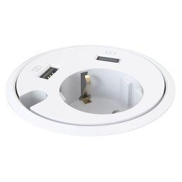 Deskline Circle - Strøm, 2 stk. USB, kabelhul - hvid