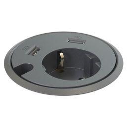 Deskline Circle - Strøm, 2 stk. USB, kabelhul - sort