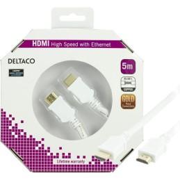 HDMI 1.4-kabel, HDMI Type A han, guldbelagt, 5m, hvid