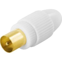 Antennestik, 9,5mm han, skruemontering, guldpletteret stik
